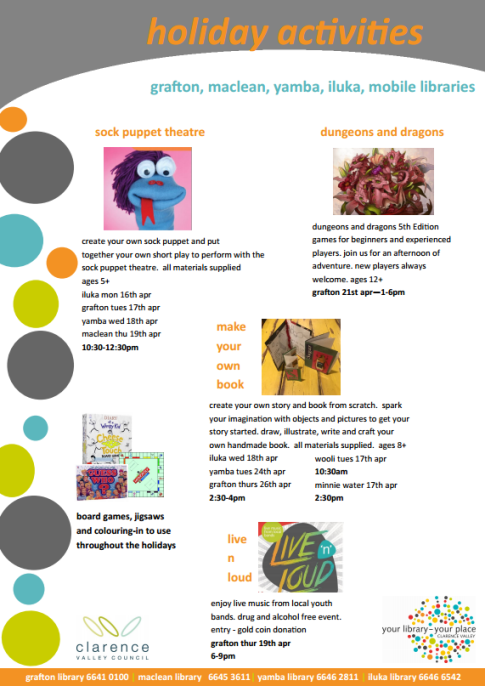 School holiday activities @ Clarence Valley libraries - Clarence